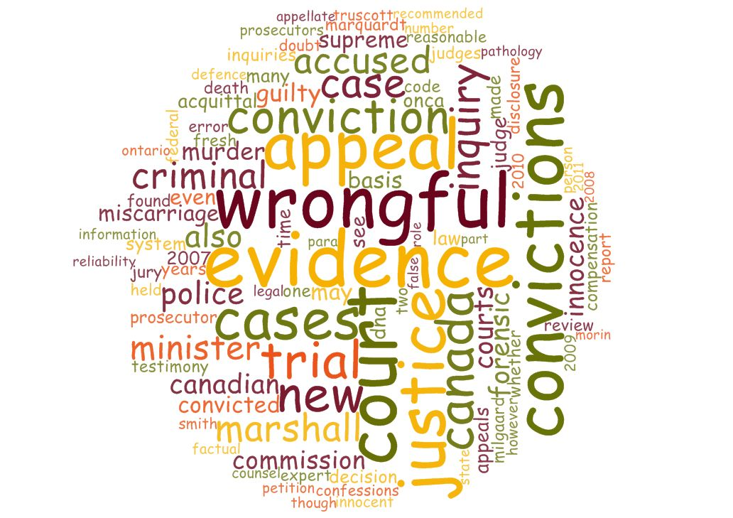 Word cloud about wrongful conviction